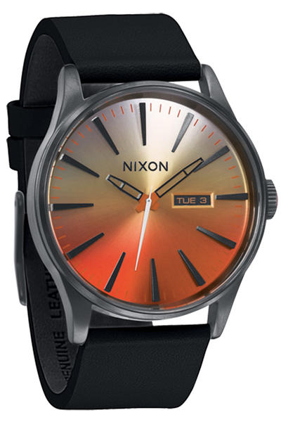 Nixon The Sentry Leather Uhr (all black sunrise)