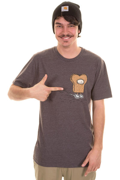 Cleptomanicx Eskimo Toast T-Shirt (heather dark brown)