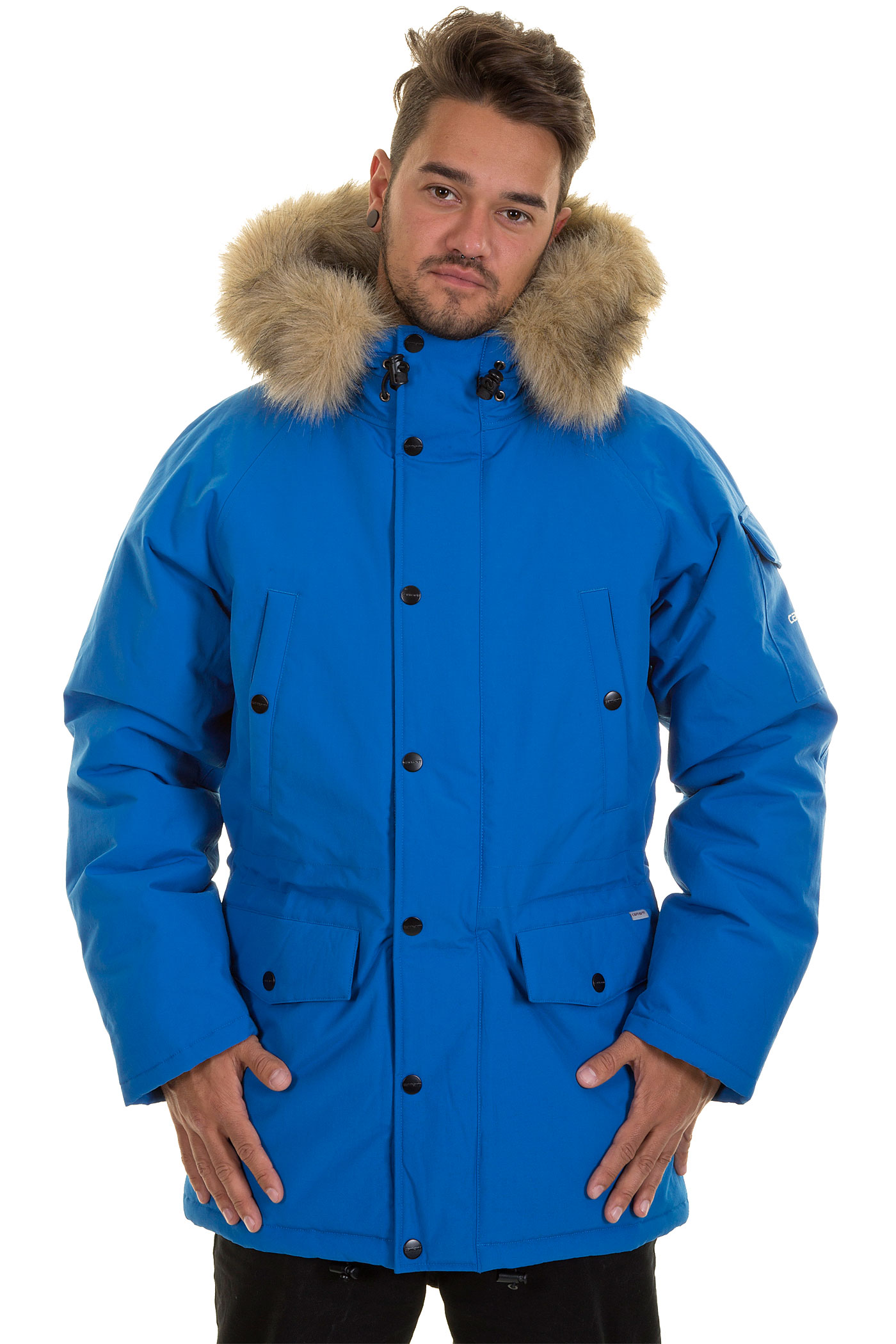 carhartt anchorage parka jacket imperial blue broken. Black Bedroom Furniture Sets. Home Design Ideas