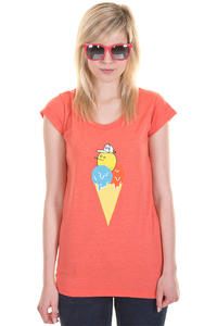 Cleptomanicx Zitroneneis Scoop T-Shirt girls (heather hot coral)