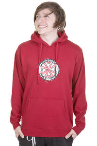 Independent Red & White Cross Stencil Hoodie (cardinal red)