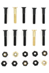 "SK8DLX Nuts & Bolts Gold 1 1/8"" Phillips Bolt Pack (black gold)"