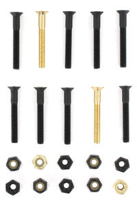 "SK8DLX Nuts & Bolts Gold 1 1/2"" Phillips Bolt Pack (black gold)"
