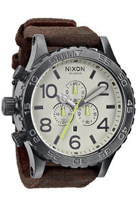 Nixon The Chrono Leather Uhr (gunmetal brown)