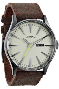 Nixon The Sentry Leather Watch (gunmetal brown)