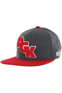 DGK Skateboards Stagger Snapback Cap (charcoal heather red)